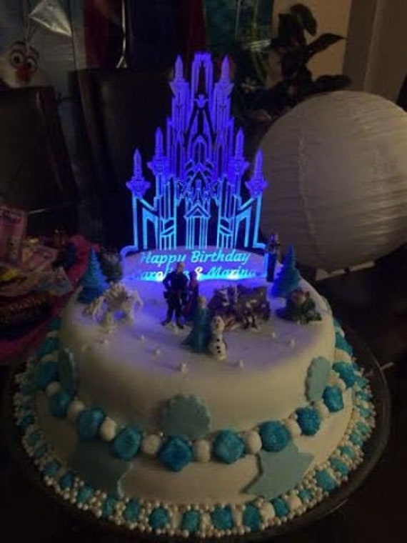 Sensational Frozen Castle Illuminated Custom Birthday Cake Adorno Frozen Etsy Funny Birthday Cards Online Aeocydamsfinfo