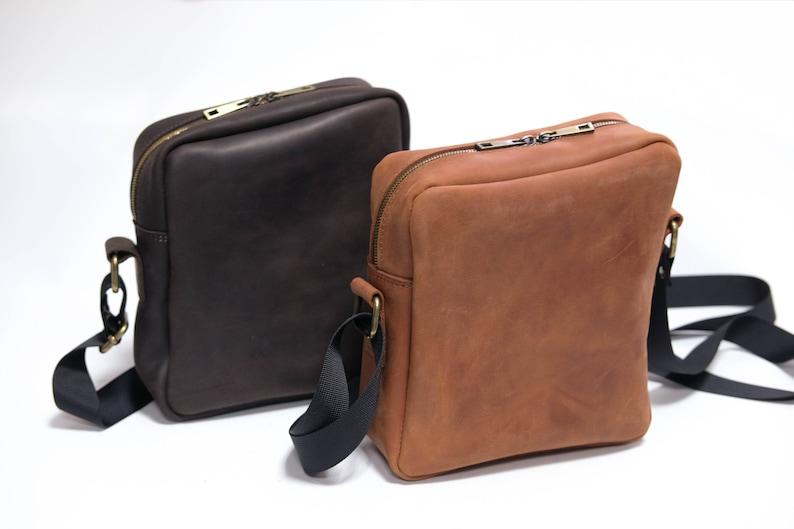 8b1ca3e2fde8 Small Messenger Bag / Men Leather Bag / Shoulder Bag Men