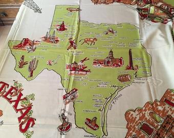 Vintage NOS Souvenir TEXAS Tablecloth AWESOME