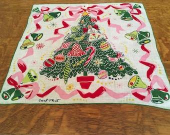 Vintage Christmas Hankie ~ Signed Carl Tait