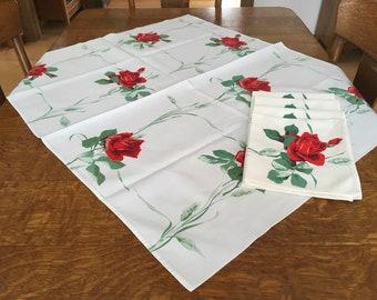Wilendur Rose Cloth with 4 Napkins