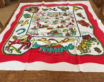 Vintage Wyoming Souvenir Cloth NOS