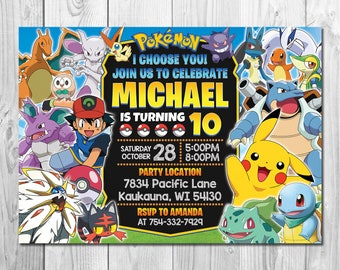 graphic about Printable Pokemon Invitations named Pokemon invitation Etsy