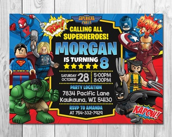 Superhero Invitation Birthday Superheroes Comic Party Digital Printable