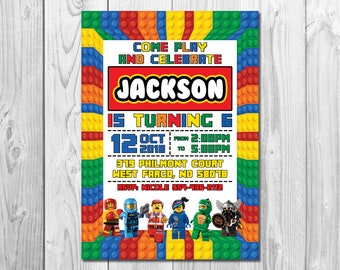 Building Blocks Invitation Colorful Birthday Party Digital Printable