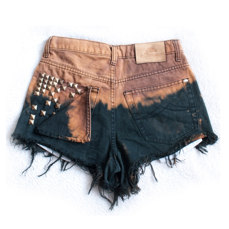studded pockets HIGH WAISTED DENIM shorts hand dyed with studs size small distressed shorts