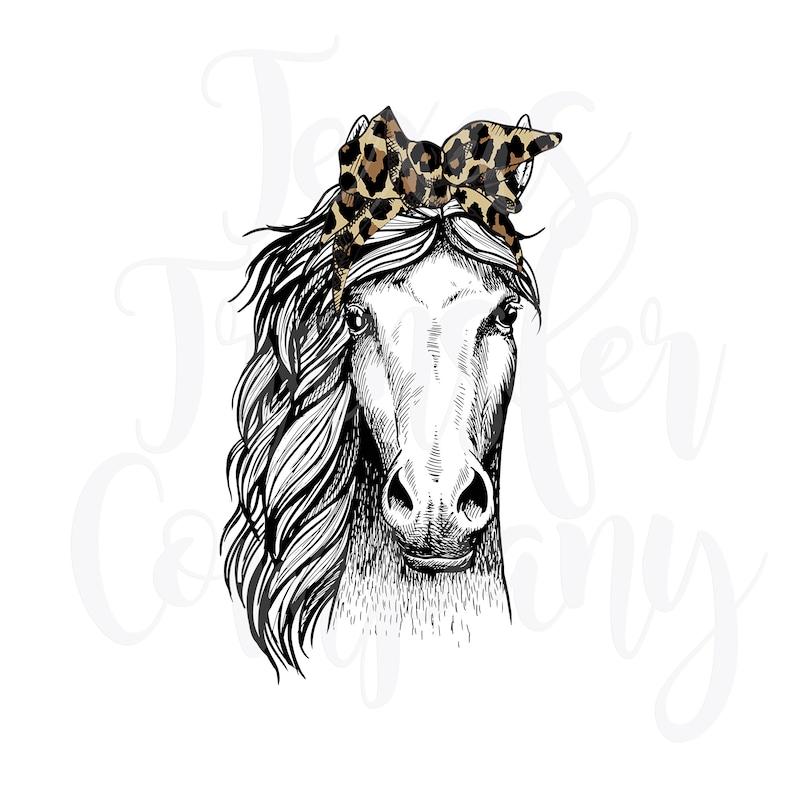 sublimation transfer women/'s tshirt transfer boho horse horse with bandana Horse with leopard bandana sublimation transfer print