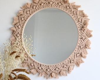 Large Round Macrame Mirror wall decor, macrame boho mirror, woven macrame wall hanging mirror, macrame wreath mirror