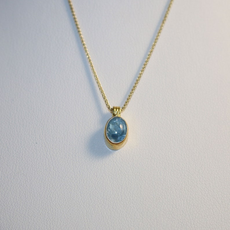 Aquamarine Gold Plated Silver Necklace Aquamarine Pendant Gift for Any Occasion Summer Gemstone Necklace Aquamarine Silver Pendant