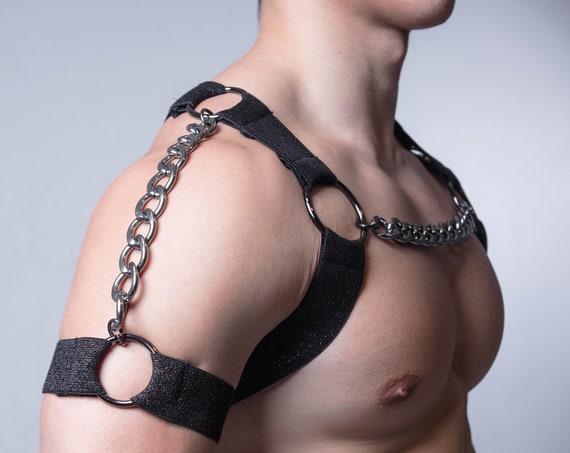 AJ Ebony Shoulder Chain - Circuit Party Harness