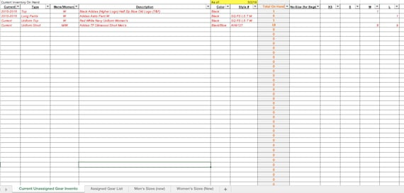 Apparel Inventory Tracking Spreadsheet Etsy