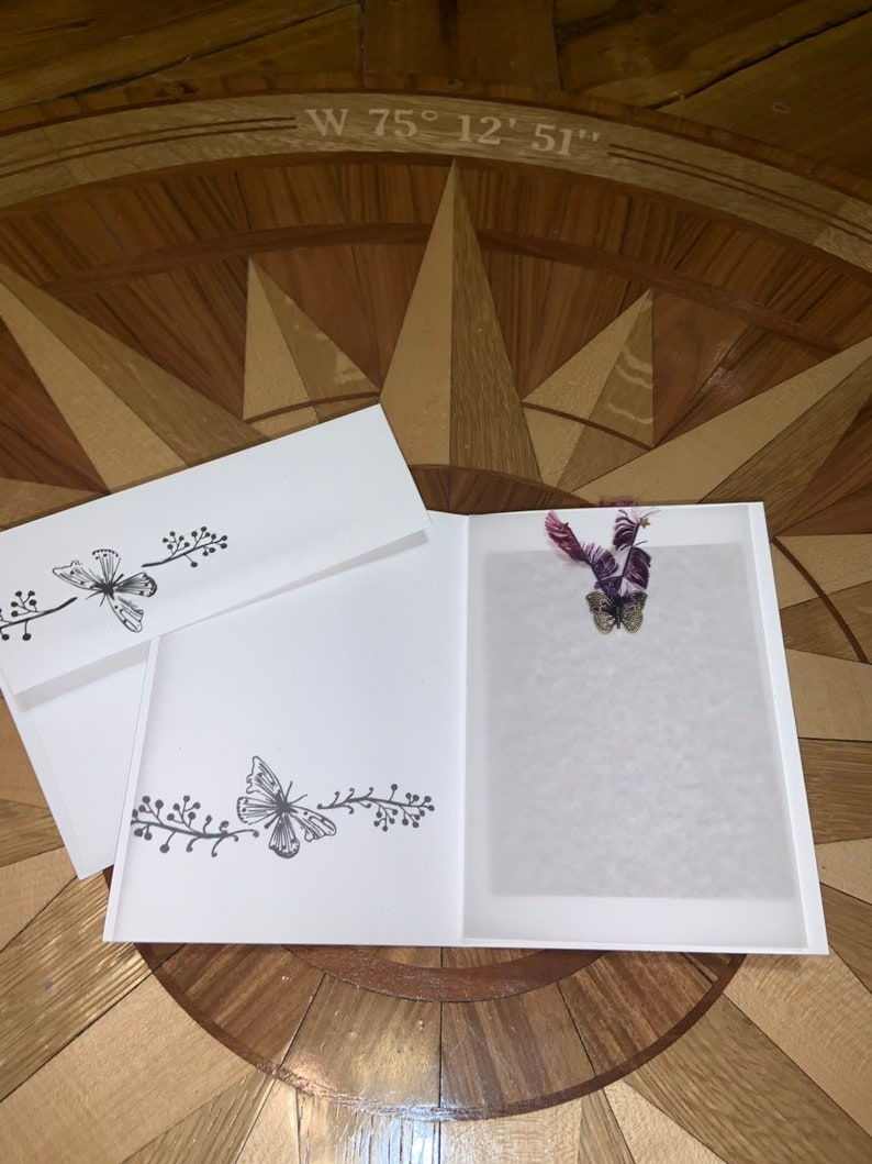 Hand painted blank note card butterfly