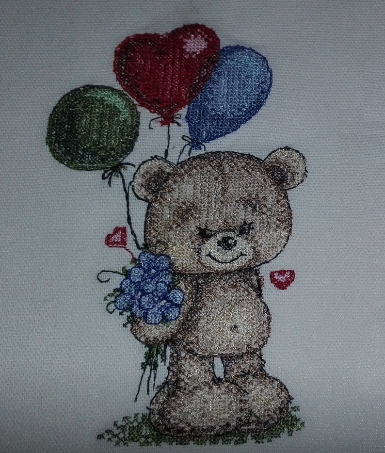 Teddy bear with balloons Machine Embroidery design  and PDF pattern for hand-made embroidery