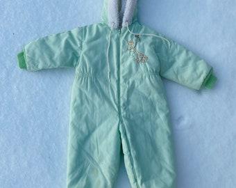 size 18-24 month Vintage Nursery Decor Mint Green Baby Snowsuit