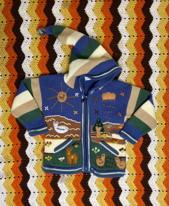 Vintage Peruvian cardigan sweater pima cotton andean inca sweater made in Peru handmade sweater Earth Tones Santa Fe tribal festival jacket