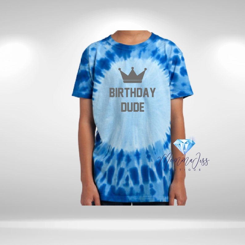 Birthday Dude Custom Blue Tie Dye Unisex Youth Graphic Tees T-Shirts Cute Boys Summer Top Unique Birthday Gift For Son MommaJessBoutique