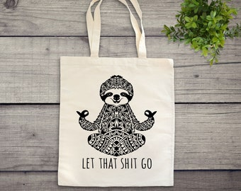 Cute sloth funny illustration tote bag canvas shopping