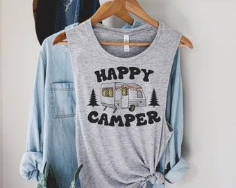 Happy Camper Tank Top RV Tourism Camping Summer Nature Travel Sleeveless