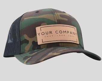 Custom Logo Hats, Logo Hat, Company Logo, Leather Patch Hat, Custom Leather Patch Hats, Personalized Hat, Mens Hats . Company Gifts Merch