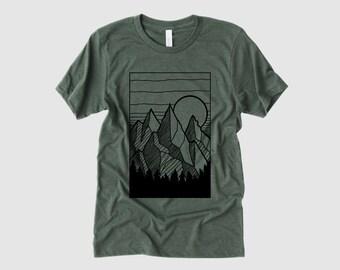 Mens Shirt, Mountain T Shirt, Nature Shirt, Hiking Shirt, Shirt for Camping, Outdoor Apparel, Casual, Mens Graphic Tees, Adventure Shirts