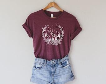 Mountain Shirt, Shirts for Women, Womens Shirts, Graphic Tee, Camping T Shirt, Travel Shirt, Nature TShirt, Hiking Shirt, Gift for Her