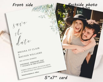 Downloadable #MIA Minimalist Green Save The Date Template Sage Wedding Save The Date Card DIY Editable Modern Save the Date Template