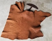 Leather Bison Hide Piece 8.89 SqFt Walnut