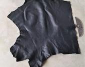 Leather Bison Hide Piece 10.26 SqFt Black