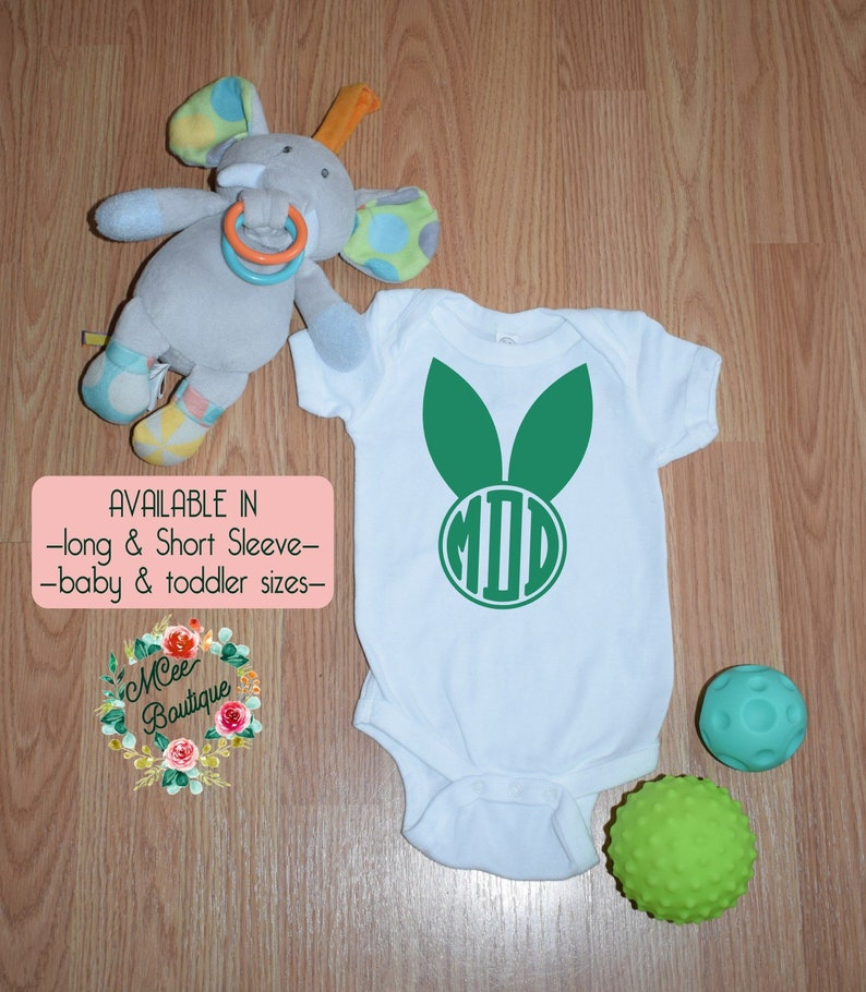 Bunny Ears Monogram \u2022 Onesie  Bodysuit  T-Shirt