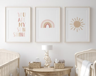 Neutral Rainbow Wall Art Set of 3 Prints, You Are My Sunshine, PRINTABLE Wall Art, Rainbow Nursery Decor, Kids Room Decor, DIGITAL DOWNLOAD