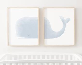 Whale Print Set of 2, Printable Wall Art, Beach Nursery Decor, Whale Nursery Decor, Kids Room Decor, Watercolor Whale Art | DIGITAL DOWNLOAD