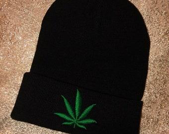 Beanie Hat Weed Cannabis Herb Black Winter