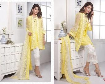 763d6b3ab7b9 Yellow Georgette Indian Pakistani Ethnic Salwaar Suit Ready to wear CHC00164