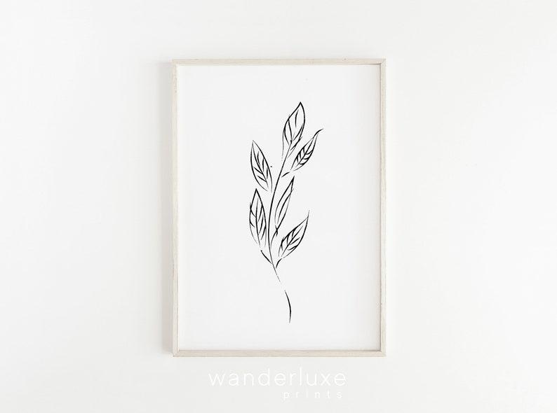 Pleasing Minimal Line Art Tumblr Room Decor Modern Leaf Drawing College Apartment Decor Artwork Instant Download Black White Botanical Print Download Free Architecture Designs Scobabritishbridgeorg