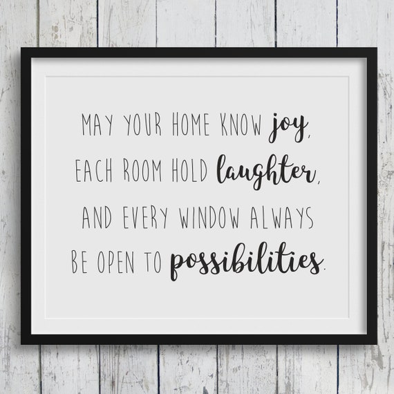 Printable Quote For Home Decor Happy Home Wall Quote Etsy