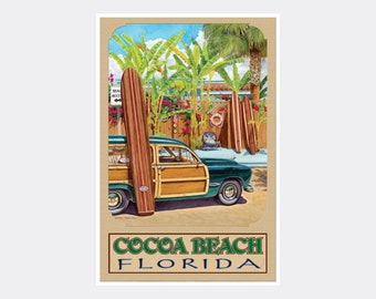 COCOA BEACH Florida New Space Coast Cape Ocean Beach Poster Pin Up Art Print 205