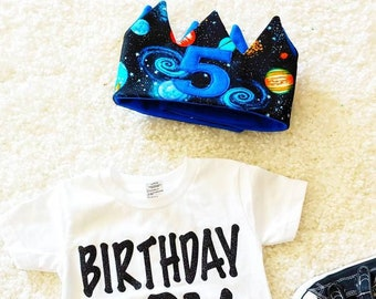 Space Birthday Crown /Planets Birthday Crown / Birthday Crown /Custom Crown/ Party Hat/ Birthday Boy Shirt/ Child Personalized Gift