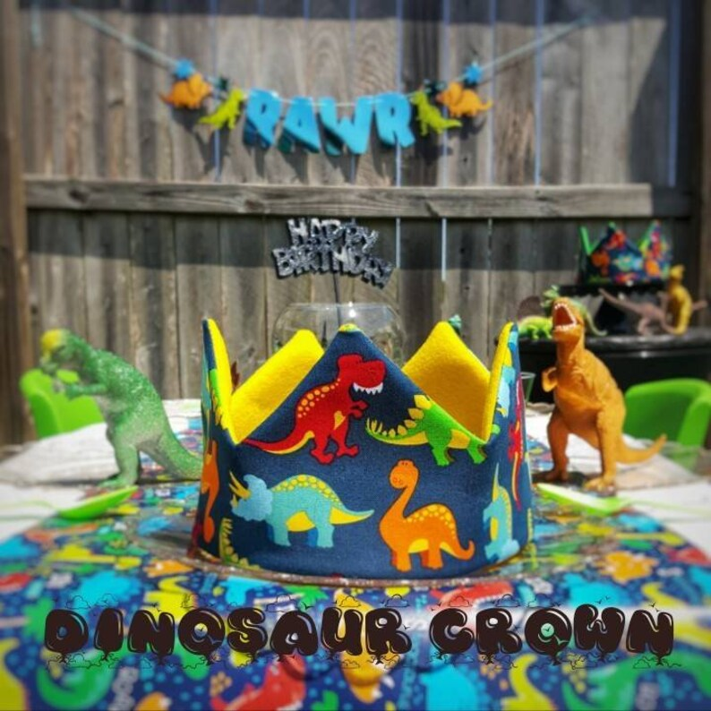 Dinosaur Fabric Crown Boy Birthday Dinosaur Theme, Dinosaur Crown Dinosaur Party Hat Dinosaur Birthday 1st Birthday 2nd Birthday