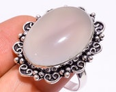Natural White Chalcedony Gemstone Vintage Handmade Jewelry Ring Size- 8.25 US Weight-11.1 Gm GS-114 For Girls.