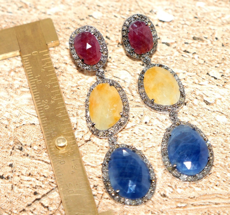 1500 E Ruby /& Sapphire With Natural Rosecut Diamonds Handmade 925 Sterling Silver Earrings