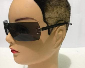 ff197f1da70 YSL Yves Saint Laurent Vintage Black Sunglasses Grey Gray Lenses Made in  Italy