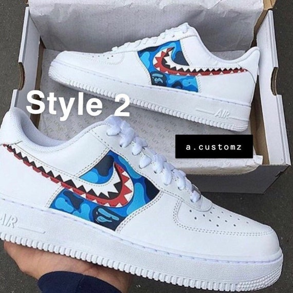 Custom Air Force 1 bape camo x shark teeth MUST READ DESCRIPTION!