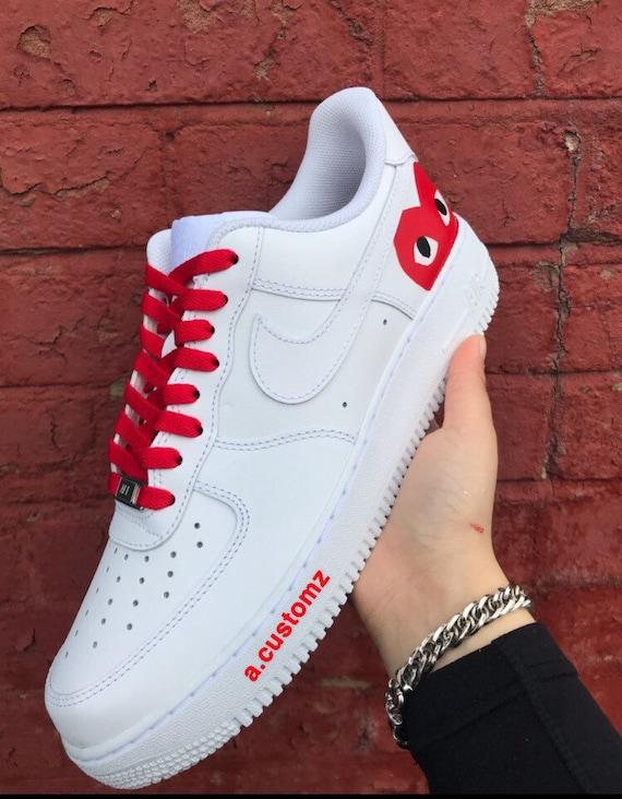 Nike Air force 1 CDG red CUSTOM Etsy