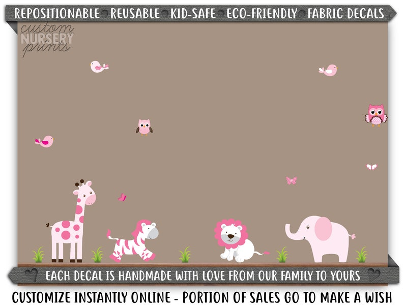 Pink White Decal Nursery Wall Decor Large Animal Sticker Girl Decals C004 D11 Nursery Wall Art Reusable Decal Baby Room Decor