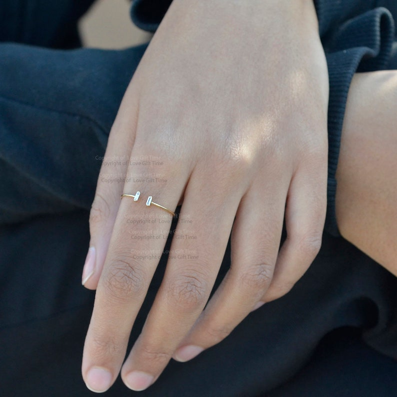 Baguette Diamond Ring Baguette Wedding Ring  Minimalist Baguette Ring  Baguette Stackable Ring  Baguette Cuff Ring  14k Solid Gold Ring
