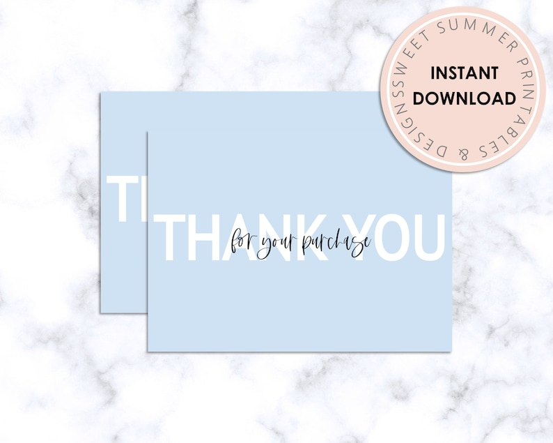 Branding Thanks For Your Purchase Package Inserts Printable Thank You Card Light Blue Minimalist Thank You Card Boutique Packaging