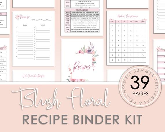 Blush Pink Floral Recipe Binder Kit Printable Printable