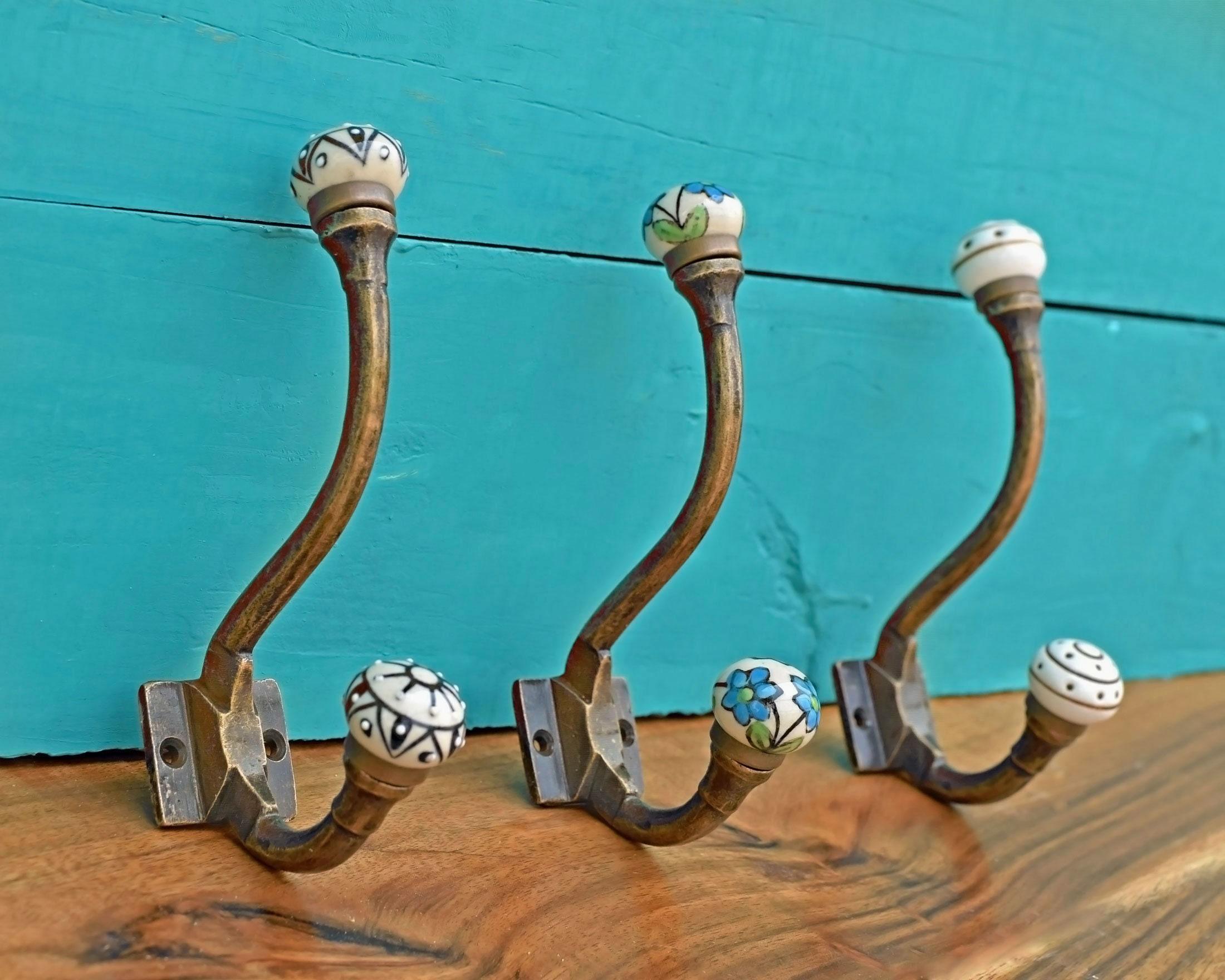 Ceramic Hooks Double Vintage Handmade Shabby Chic Floral Wall Coat Hook Hanger