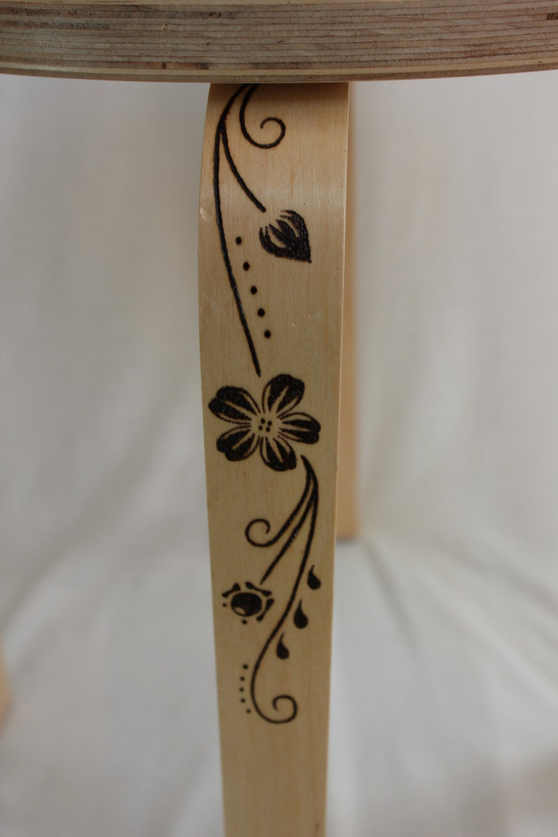 Pyrography Stool Coffee Table Circular Flowers Butterflies