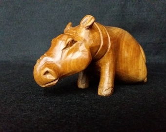 Vintage Black Stylised Hippo Ornament Cute Retro Piece In Good Condition overall some damage to the ears see photo/'s